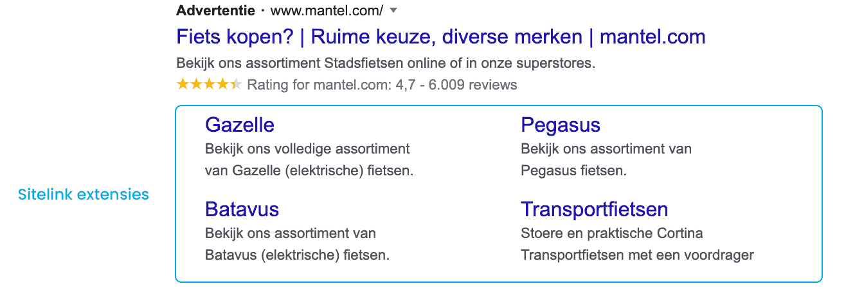Extensies google ads